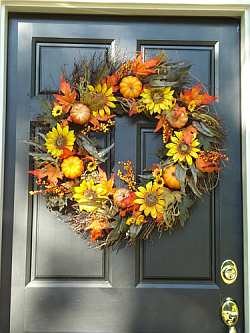 Μαγιάτικο Στεφάνι Fall-wreath-sunflowers
