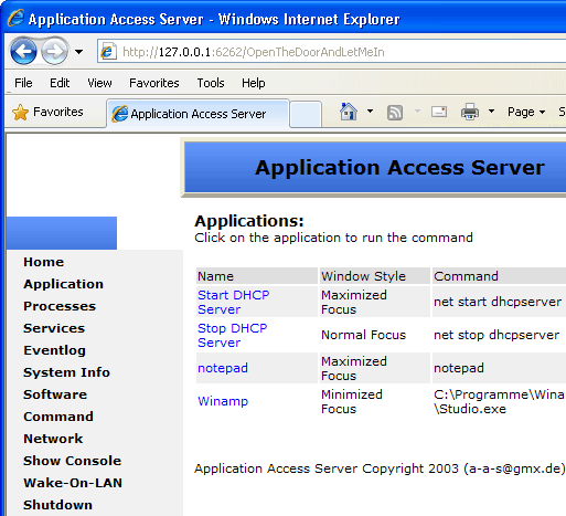 {{Remotely Start and Stop Applications or Services over the Internet}} Manage-aas
