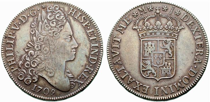 8 reales de 1709. Felipe V, Madrid. El primer busto y mas. Spa446