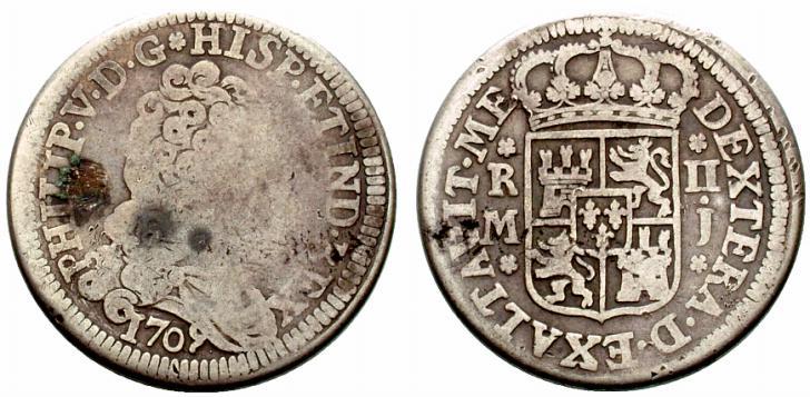 8 reales de 1709. Felipe V, Madrid. El primer busto y mas. Spa820