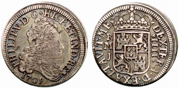 8 reales de 1709. Felipe V, Madrid. El primer busto y mas. Spa822