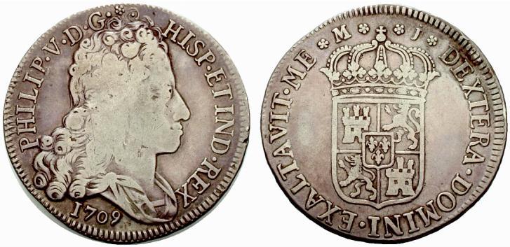 8 reales de 1709. Felipe V, Madrid. El primer busto y mas. Spa823