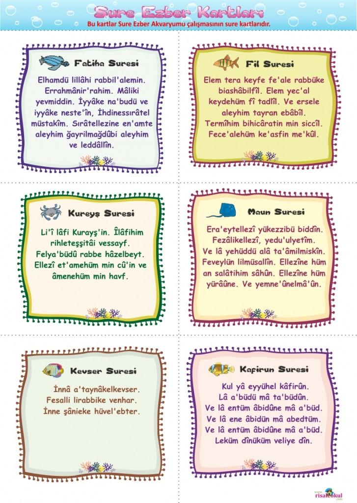 SURE EZBER AKVARYUMU – Çocuklarımıza sure ezberletmek için harika bir çalışma Okuloncesi_sure_kartlari1-727x1024