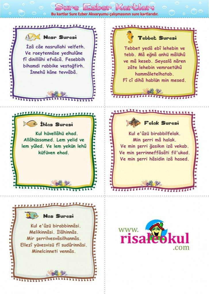 SURE EZBER AKVARYUMU – Çocuklarımıza sure ezberletmek için harika bir çalışma Okuloncesi_sure_kartlari2-727x1024