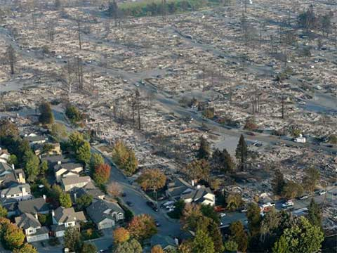 UPDATES ~ Napa Valley on Fire   20171010-coffey-park-subdivision-aerial-view