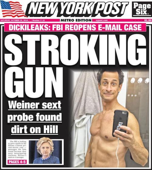Weiner Blows It: Hillary's Doomed by Sexting Perv Facing 30 Years Weiner_Stroking_Gun