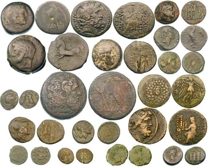 belle collection de pièces de monnaie grecques Monnaies-grecques-en-bronze