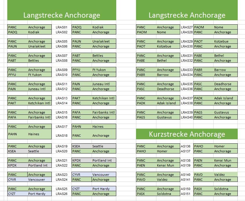 ASS in Anchorage - neue (zusätzliche) Flugpläne Anchorage