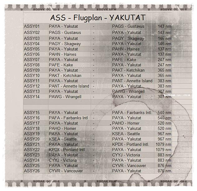 PAYA-YAKUTAT - Flüge Yakuroute