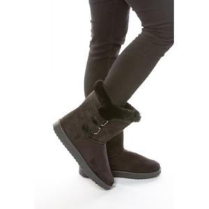 احذية جميلة Boots-fourrees-noires-a-scratchs