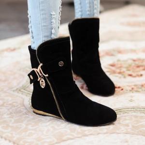 احذية جميلة Bottes-martin-pure-color-talon-plat-la-suede-de