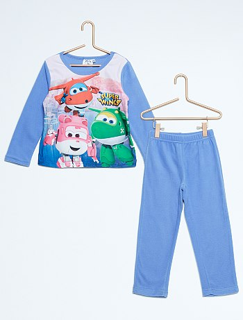 بيجامات للاطفال Pyjama-long-en-polaire-super-wings-bleu-fille-vr529-1-fr1