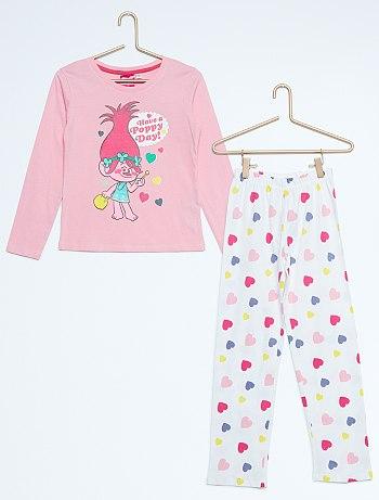 بيجامات للاطفال Pyjama-long-imprime-trolls-rose-fille-vr029-2-fr1
