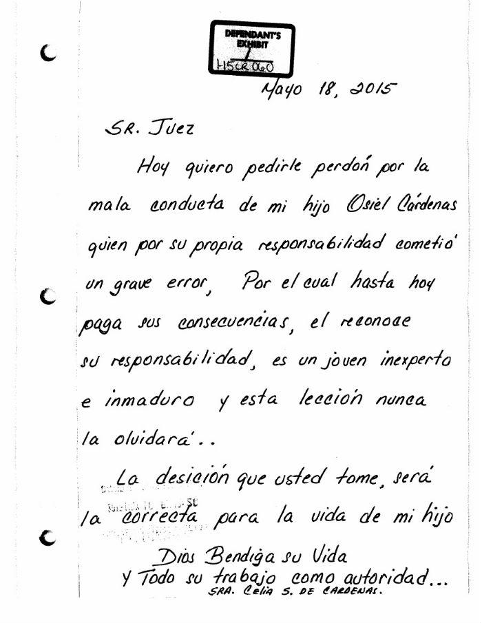 """La mamá de Osiel Cárdenas Jr pide al juez que lo castigue; """"es una lección que nunca olvidará"""", dice CARTA1"""