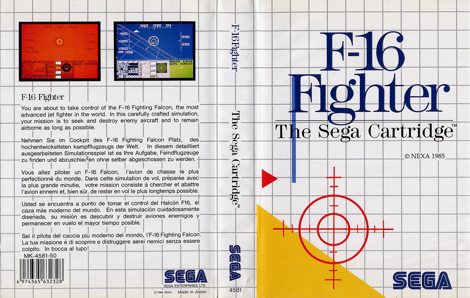 [Master System] Les Sega Card Pal F16FightingFalcon-SMS-EU-Cartridge-NoR