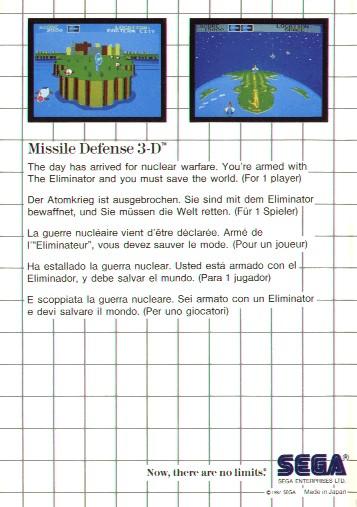 [Master System] Les Jeux Light Phaser MissileDefense3D-SMS-EU-Back