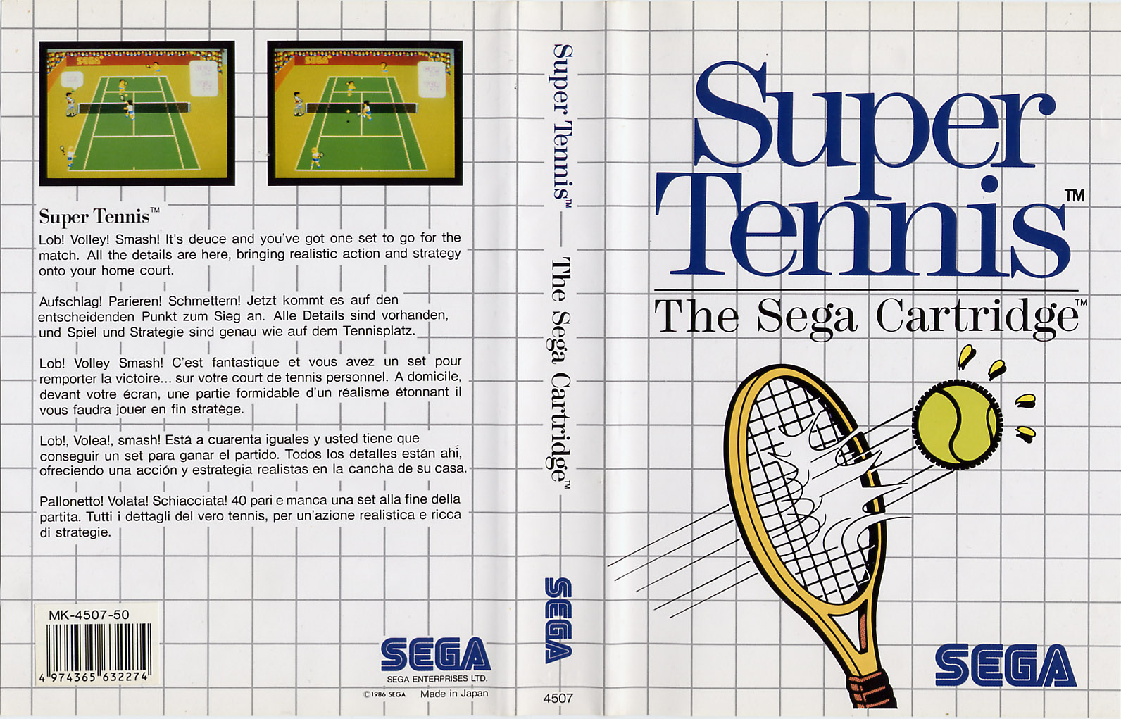 [Master System] Les Sega Card Pal SuperTennis-SMS-EU-Cartridge-NoR