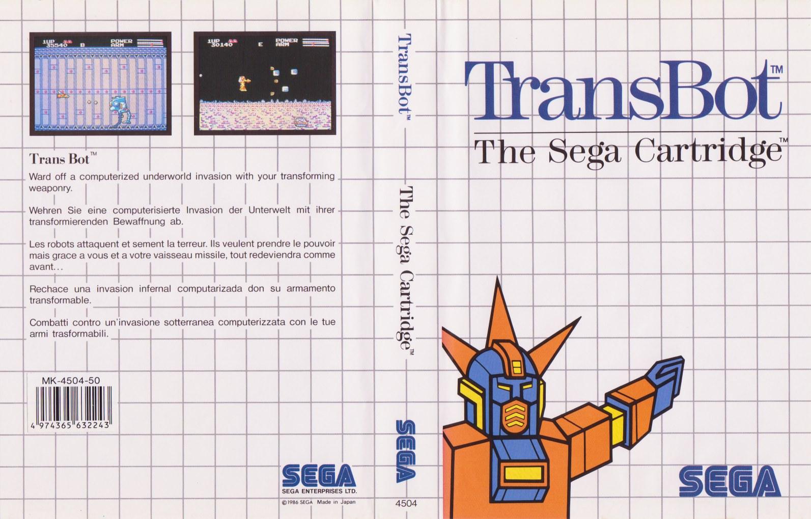 [Master System] Les Sega Card Pal TransBot-SMS-EU-Cartridge-NoR