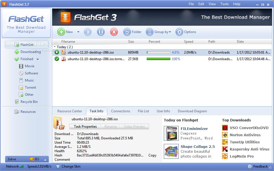 16 برنامج لتحميل الملفات من الانترنت FlashGet_1