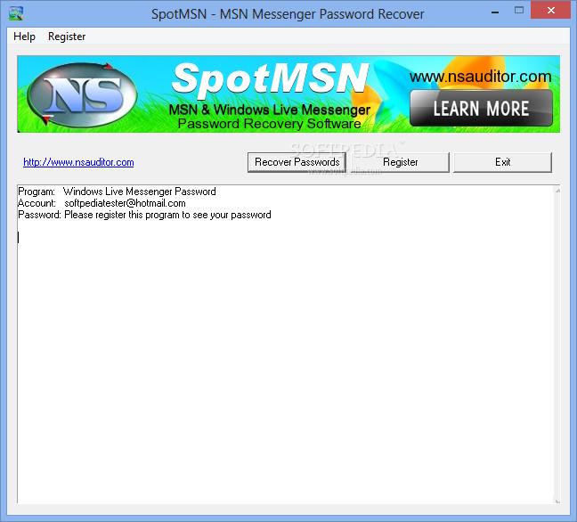 SpotMSN v1.5 Recover Passwords Instantly SpotMSN-Password-Recover_1