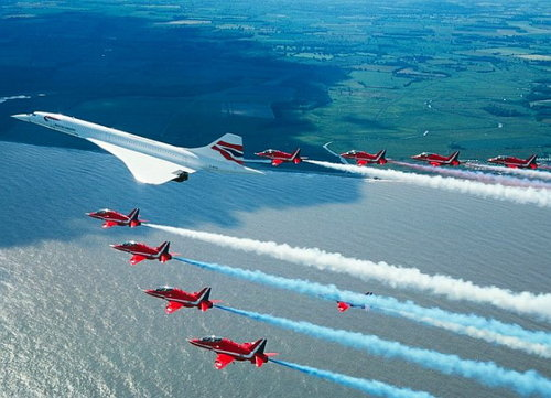The United States of the Solar System, A.D. 2133 (Book Six) Concorde_last_flight_red_arrows_escort