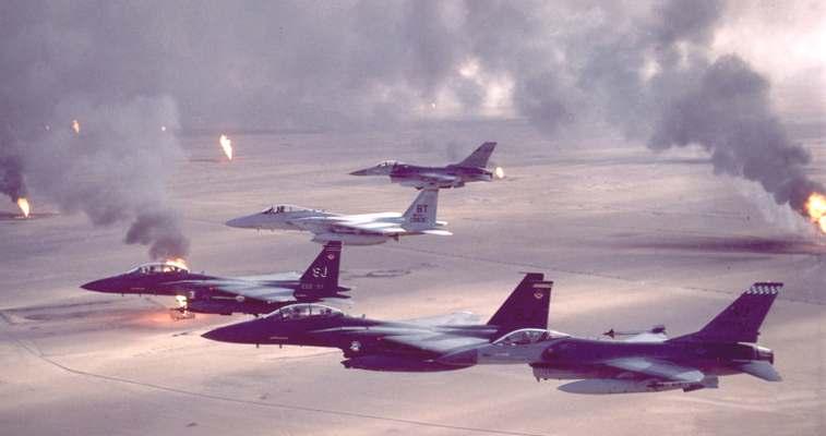كيف تمت عملية عاصفة الصحراء Kuwait_oil_wells_USAF_F-16s_operation_Desert_Storm