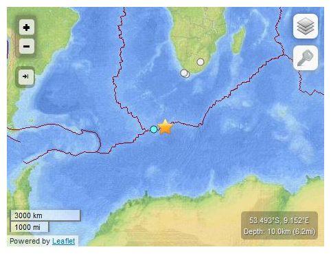 6.9 magnitude earthquake strikes remote Bouvet Island in South Atlantic Earthquake