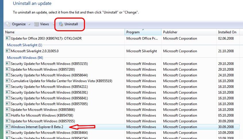 Uninstall Internet Explorer 8 – IE8 Beta2 (Reinstall IE7 Windows Vista) Ie8uninstallstep1