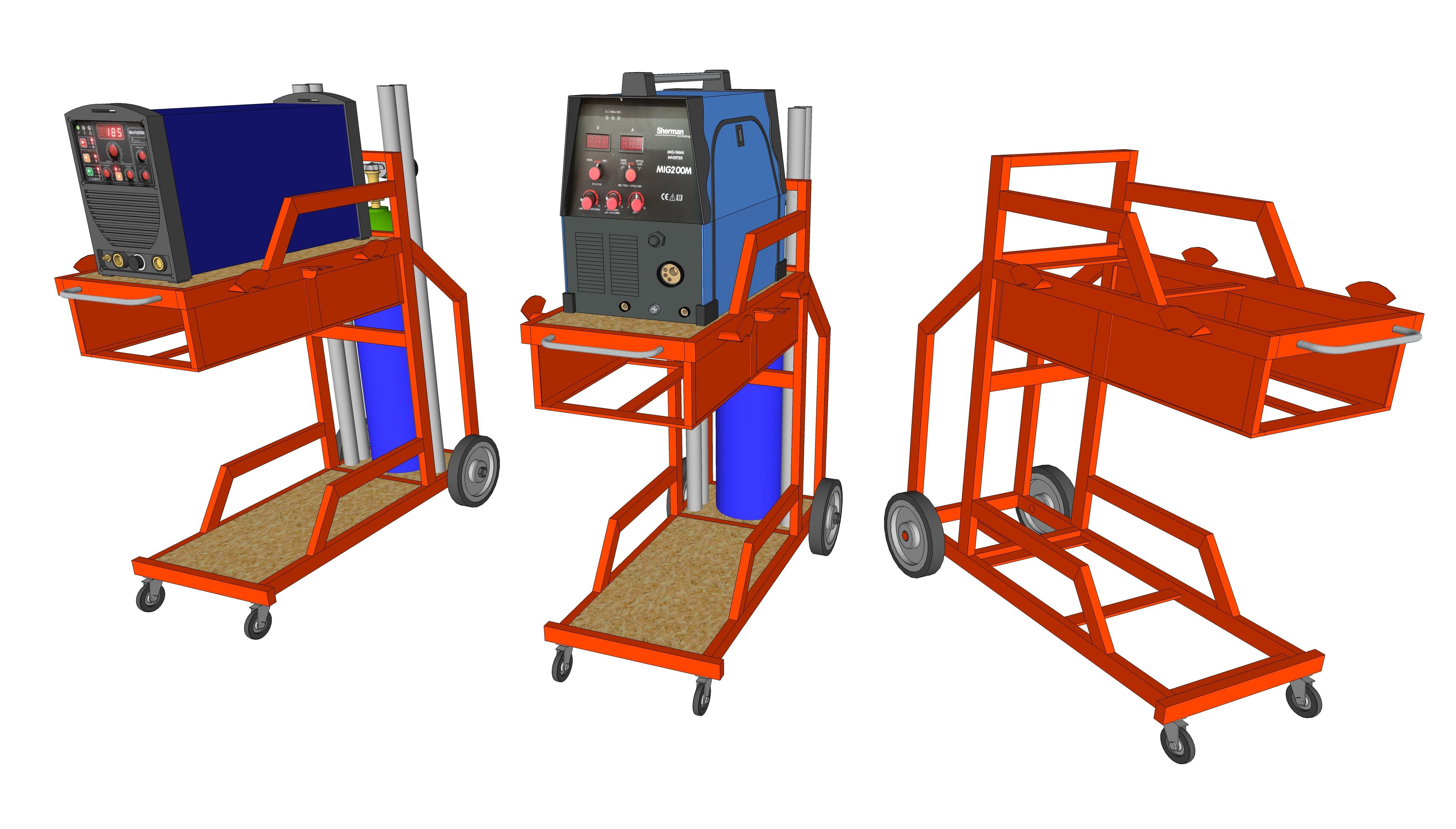 [Terminé] - Fabrication de 2 chariots pour poste à souder Vues_sketchup