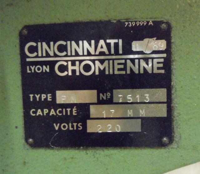 Récup Perceuse Cincinati Type PM de 1969 Plaque