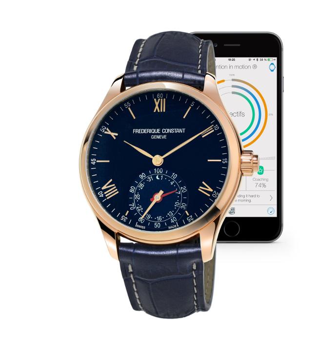 Alpina - Avis demandé : Alpina / FC horological smartwatch Frederique-Constant-Horological-Smartwatch-plaqu%C3%A9-or-rose-bracelet-cuir-bleu-marine-et-cadran-bleu-FC-285N5B4_Gary_Smartphone