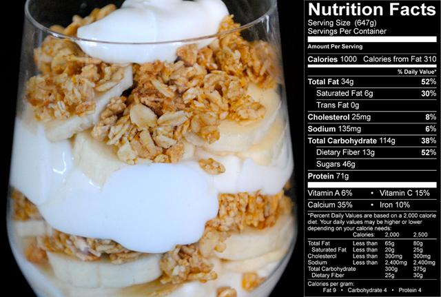 Un petit déjeuner haut en calories pour plus de muscle Banana-parfait