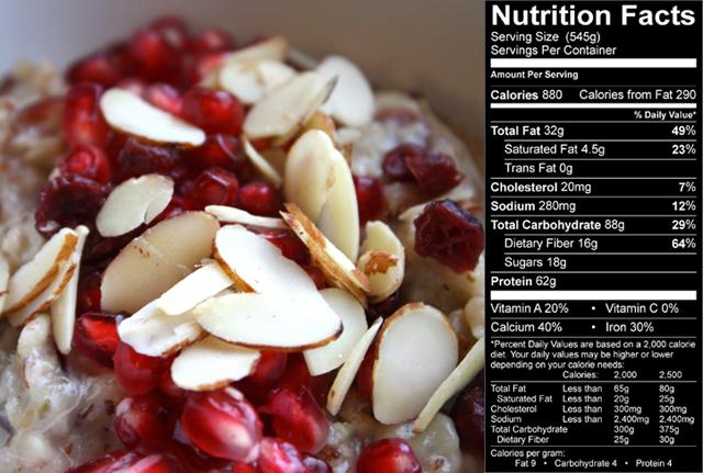 Un petit déjeuner haut en calories pour plus de muscle Cranberry-oatmeal