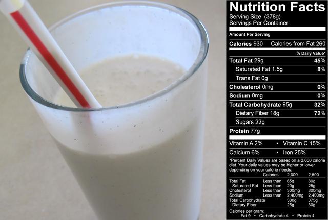 Un petit déjeuner haut en calories pour plus de muscle Shake