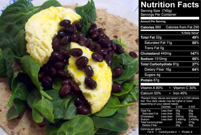 Un petit déjeuner haut en calories pour plus de muscle Tacos