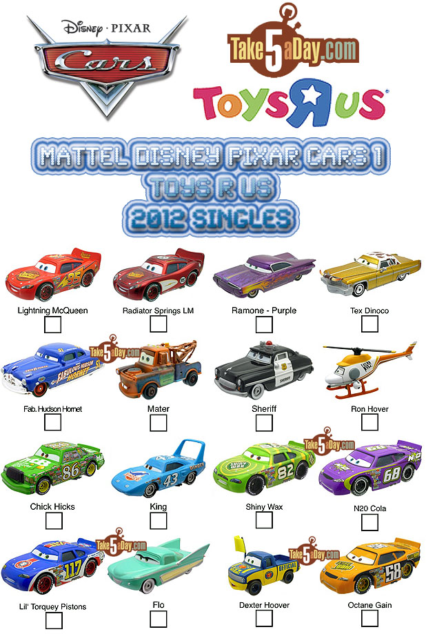 Remake Cars 1 Checklist-CARS-1-2012