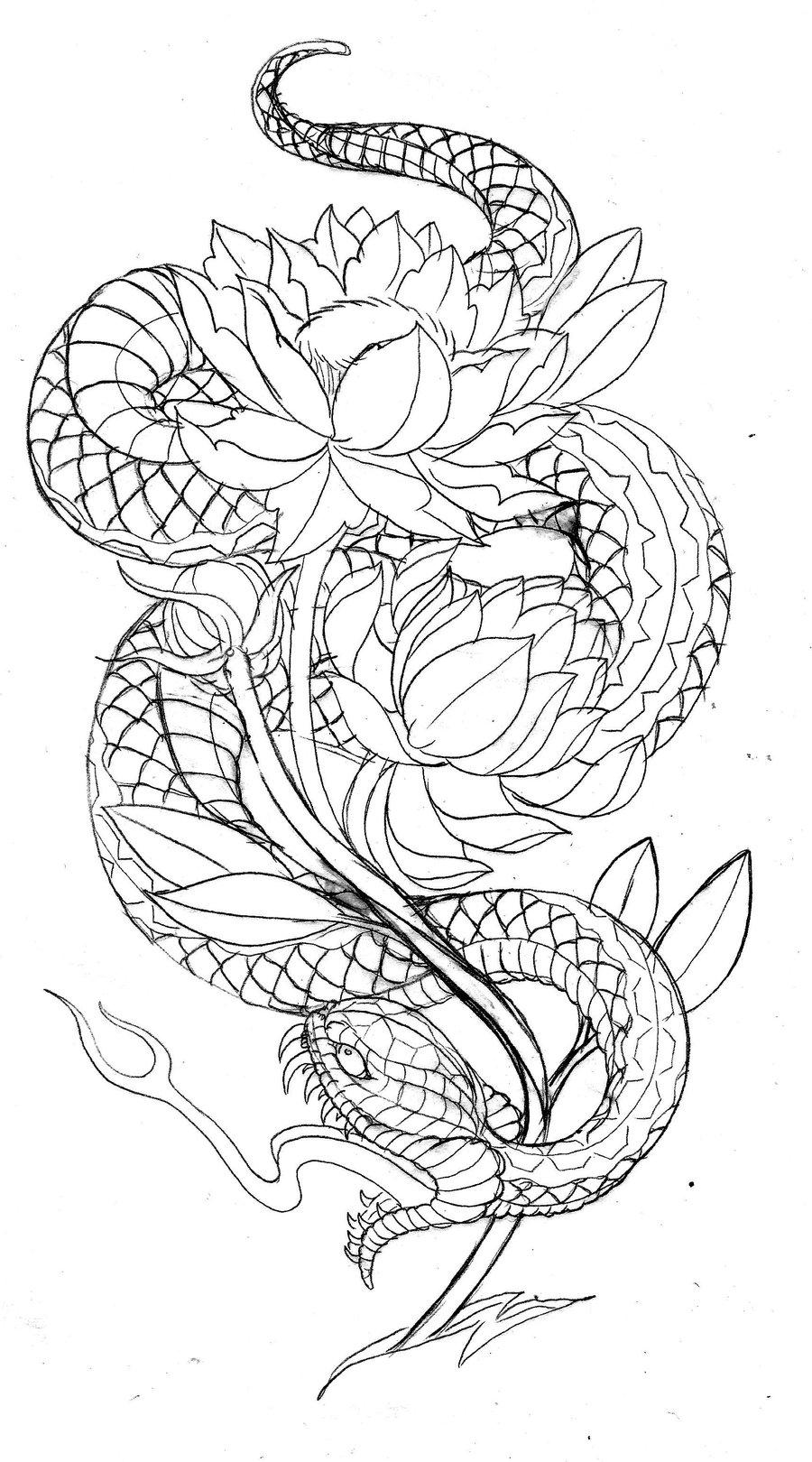 Tatouage Japanese-style-snake-with-lotus-tattoo-design