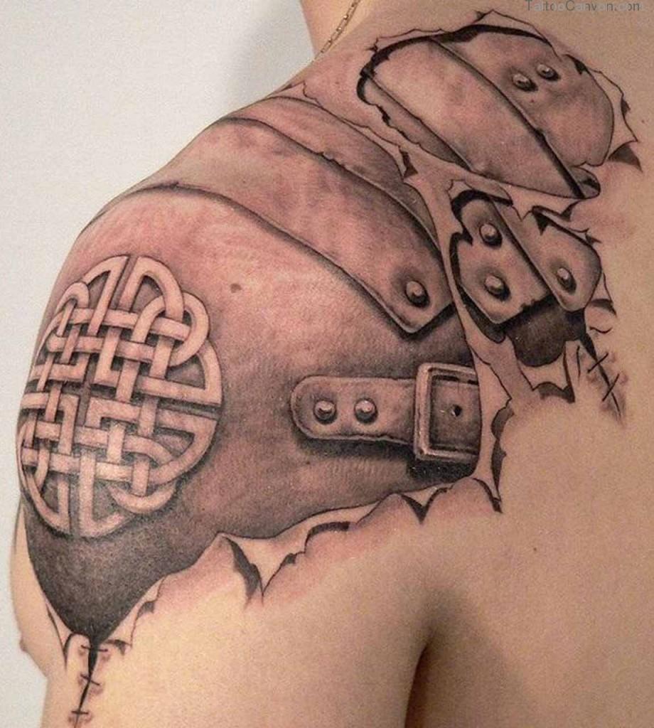 Татуировки с Рунами (подборка фото) Viking-armor-tattoo-on-upper-shoulder
