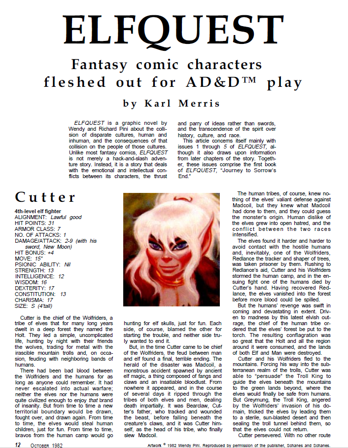 ElfQuest - translated to 2nd Edition D&D. Dragon_66_01