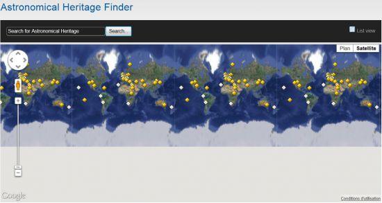 Unesco: un site pour le patrimoine mondial de l'astronomie Unesco-patrimoine-astronomique-carte