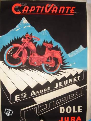 Les affiches du temps passé quand la pub s'appelait réclame .. - Page 3 Ancienne_affiche_publicitaire_Cyclomoteur_annees_1950-60