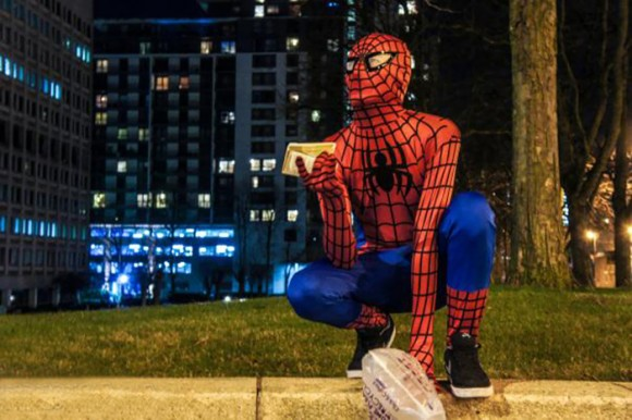 Anonymous 'Spider-Man' Feeds Homeless At Night Spider-man-helps-feeds-homeless-birmingham-uk-3-e1426360356357