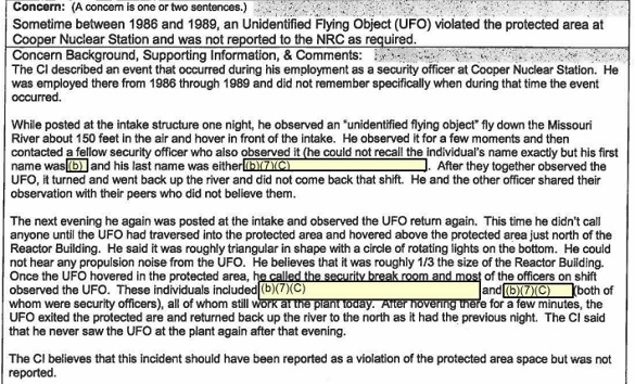 "FOIA Reveals UFO Repeatedly ""Violated the Protected Area"" over Nebraska Nuclear Power Plant Copper-UFO-Report"