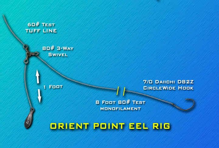 43 aparejos /armadas con anzuelo para presentar carnadas en el mar ORIENTPOINT_EEL_RIG.