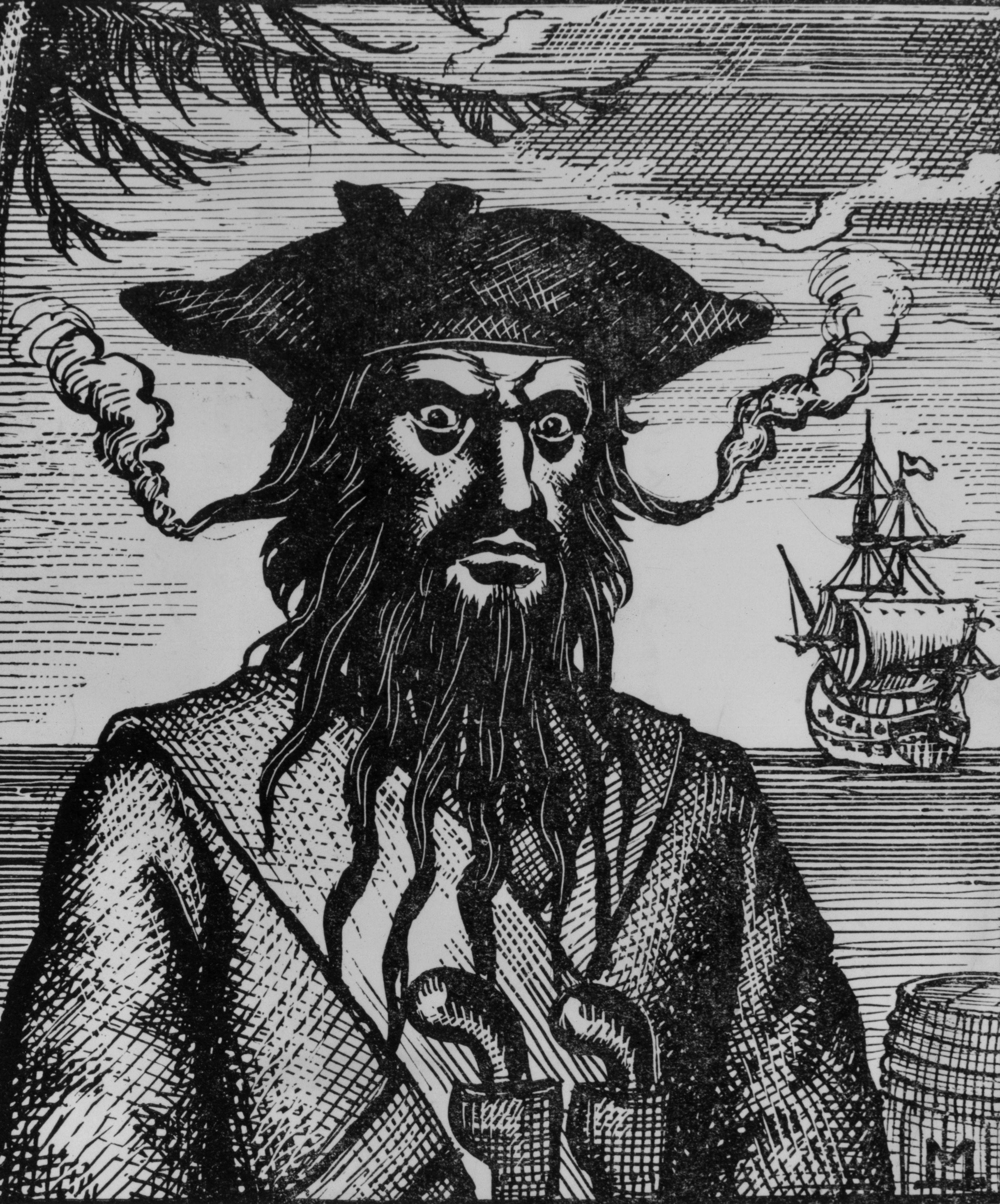 "Edward ""Čierna brada"" Teach vs Hayreddin Barbarossa Engraving-of-BB-with-fuses-woven-in-his-hair"