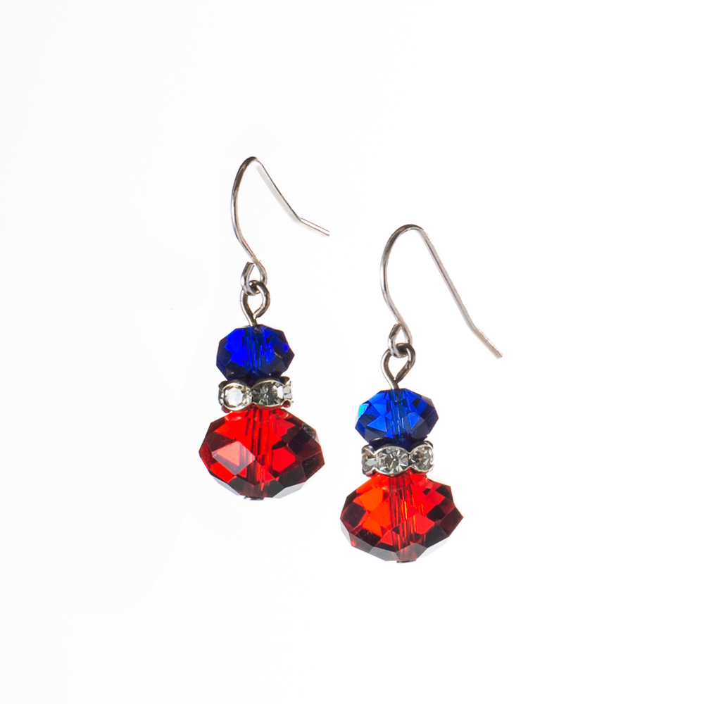 Furcas - The Chamber, a Hero's worth Red-white-blue-crystal-earrings
