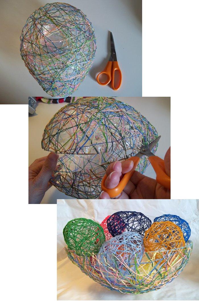 Los huevos de cadenas Make-string-eggs-easter-step3b