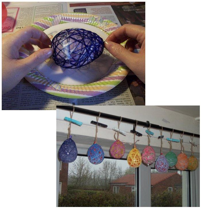 Los huevos de cadenas Make-string-eggs-easter-step7