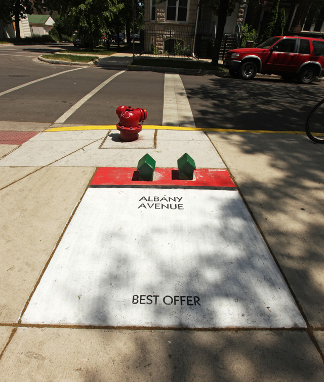 New Street Artist 'Bored' Turns Chicago Sidewalks into Monopoly Game Bored-8