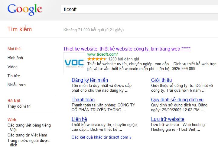 Cách tạo dấu sao và logo trên kết quả tìm kiếm google Saovalogo